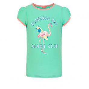 Girls Aqua Flamingo Bay Short Sleeve Rash Vest