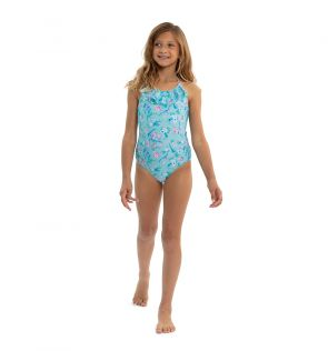 Girls Aqua Birds of Paradise Swimsuit