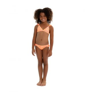 Girls Orange Boho Leopard Frill Strap Bikini