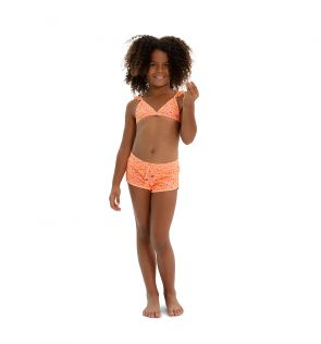 Girls Orange Boho Leopard Surf Short