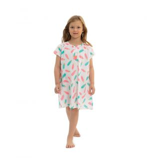 Girls White and Gold Feathers Kaftan Dress