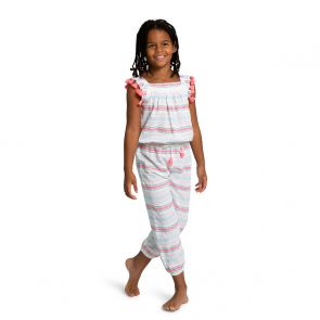 Girls Multi Stripe Flutter Sleeve Jumpsuit