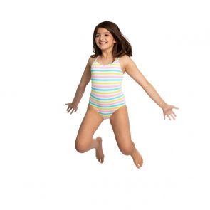 Girls Multi Stripe Strappy Swimsuit