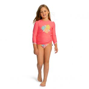 Girls Peach Floral Long Sleeve Rash Vest