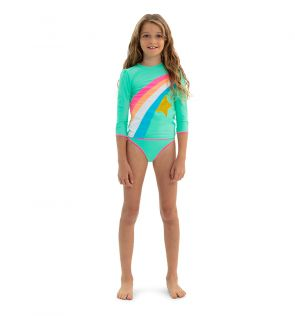 Girls Aqua Rainbow Star Long Sleeve Rash Vest