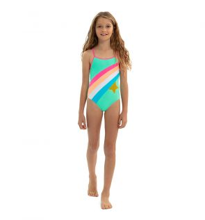 Girls Aqua Rainbow Star Swimsuit