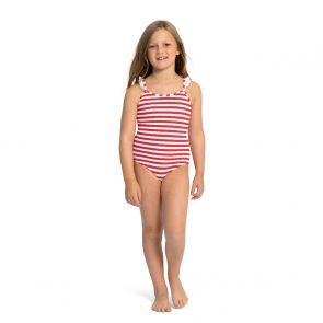 Girls Red Stripe Waffle Swimsuit