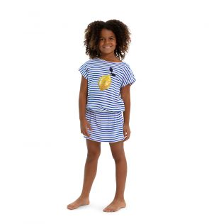 Girls Blue Sicilian Lemon Jersey Dress