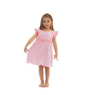 Girls Pink Strawberry Crush Handkerchief Dress