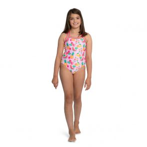 Girls Pink Aloha Fruit Glitter Trim Swimsuit