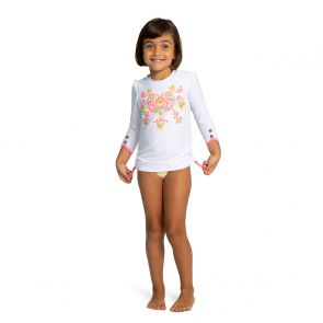Girls White Neon Peruvian Stitch Long Sleeve Rash Vest