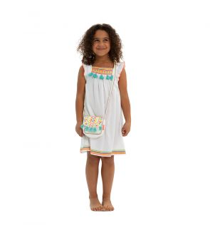 Girls White Embroidered Tassel Dress