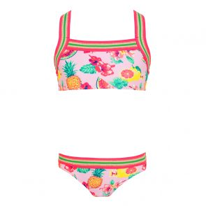 Girls Pink Aloha Fruit Glitter Trim Bikini