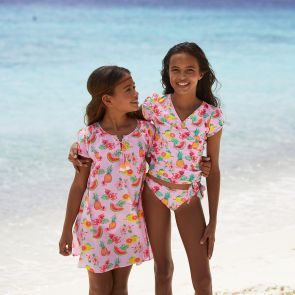 Girls Pink Aloha Fruit Wrap Around Tankini