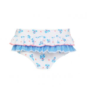 Baby Girls White Anchor Frill Nappy Pant