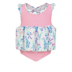 Girls Pink Stripe English Floral Float Suit