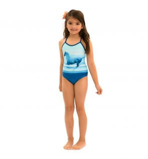 Girls Photographic Blue Swimsuit