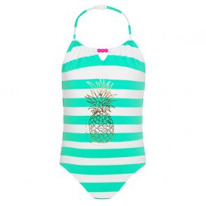 Girls Green Stripe and Gold Pineapple Swimsuit