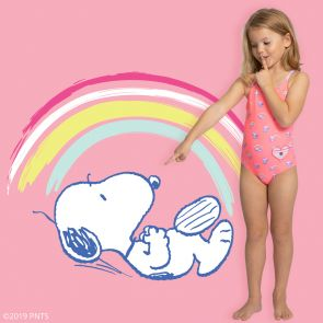 Girls Sherbet Pink Snoopy Cross Back Swimsuit