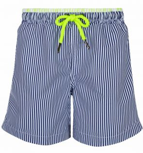 Mens Navy and White Stripe Swim Short