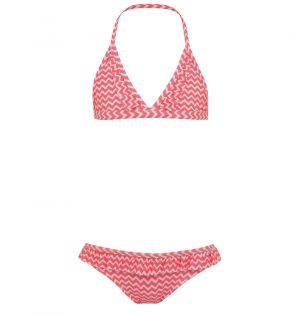 Girls Pink Batik Fish Triangle Frill Bikini