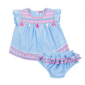 Baby Girls Blue Embroidered Cotton Set