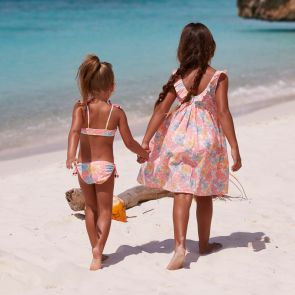 Girls Peach Floral Beach Dress