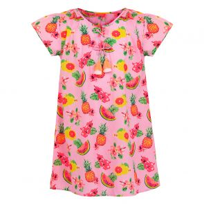 Girls Pink Aloha Fruit Kaftan Dress