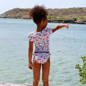 Girls Navy Stripe Cherries Wrap Tankini