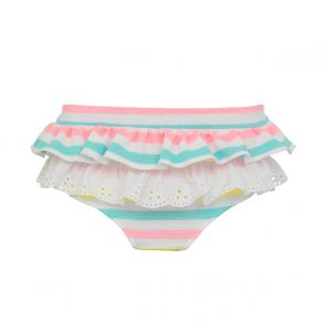 Girls Multi Stripe Frill Bikini Bottoms