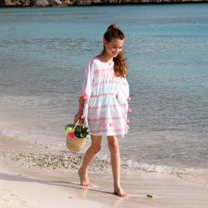 Girls Multi Stripe Tassel Kaftan
