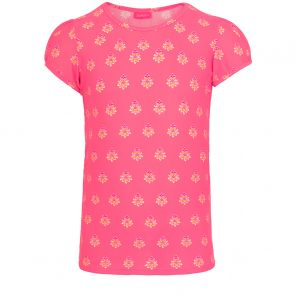 Girls Sherbet Pink Block Print Short Sleeve Rash Vest