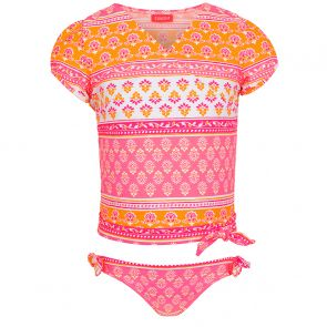 Girls Sherbet Pink Block Print Wrap Around Tankini