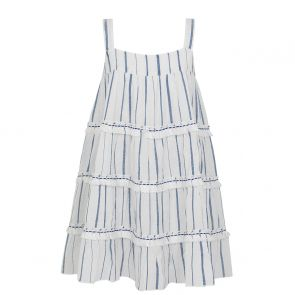 Girls Blue Stripe Fringed Tier Dress