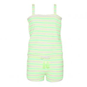 Girls Aqua Neon Stripe Towelling Playsuit