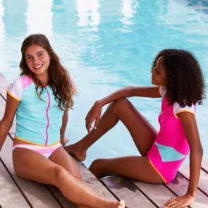 Teen Girls Blue Zipped Short Sleeve Rash Vest