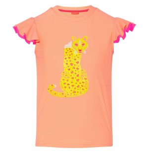Girls Orange Boho Leopard Flutter Short Sleeve Rash Vest