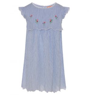 Girls Blue English Floral Hankerchief Dress