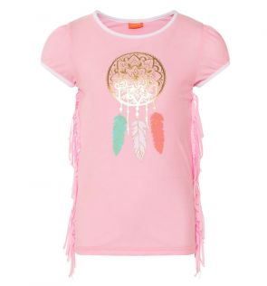 Girls Pink Gold Feathers Cap Sleeve Rash Vest