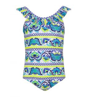Girls Blue Peruvian Stitch Frill Scoop Swimsuit