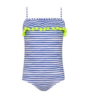 Girls Blue Stripe Pom Pom Swimsuit