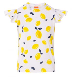 Girls White Sicilian Lemon Flutter Short Sleeve Rash Vest