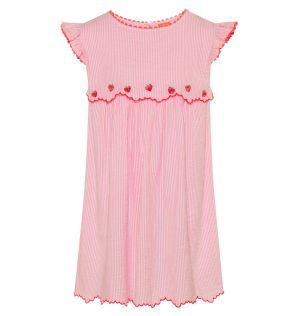 Girls Pink Strawberry Crush Hankerchief Dress