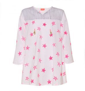 Girls White Starfish Kurta Dress