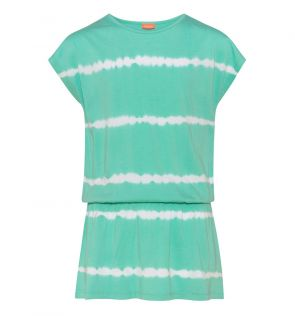 Girls Jade Green Tie Dye Jersey Dress