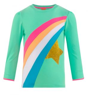 Girls Green Rainbow Star Long Sleeve Rash Vest