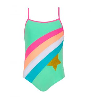 Girls Green Rainbow Star Strappy Swimsuit