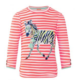 Girls Orange Zebra Fiesta Classic Long Sleeve Rash Vest