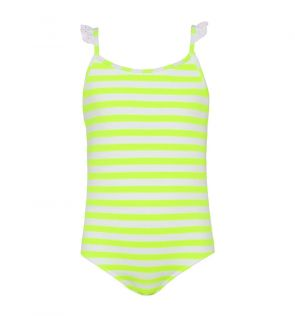 Girls Neon Yellow Waffle Stripe Frill Strap Swimsuit