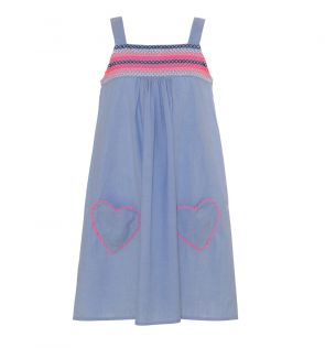 Girls Blue Smocked Top Dress